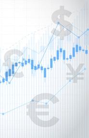 graphique avec icônes de l'euro, du dollars, du pounds et du renminbi