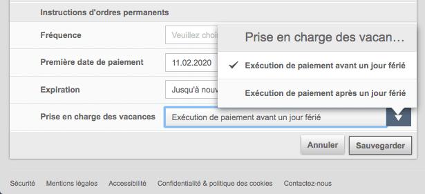 ebanking Banque du Léman - instructions spécifiques de l'ordre permanent