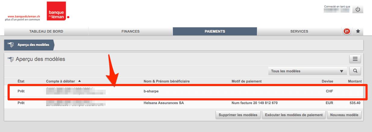 ebanking Banque du Léman - liste des modèles de paiement
