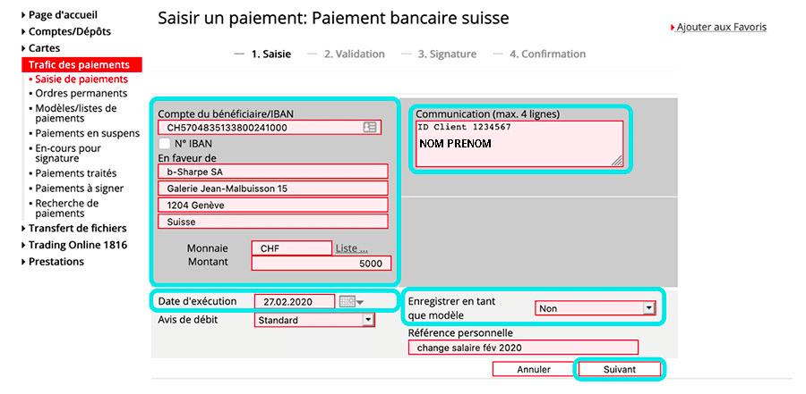 Saisie d'un paiement bancaire suisse avec l'ebanking de la BCGE