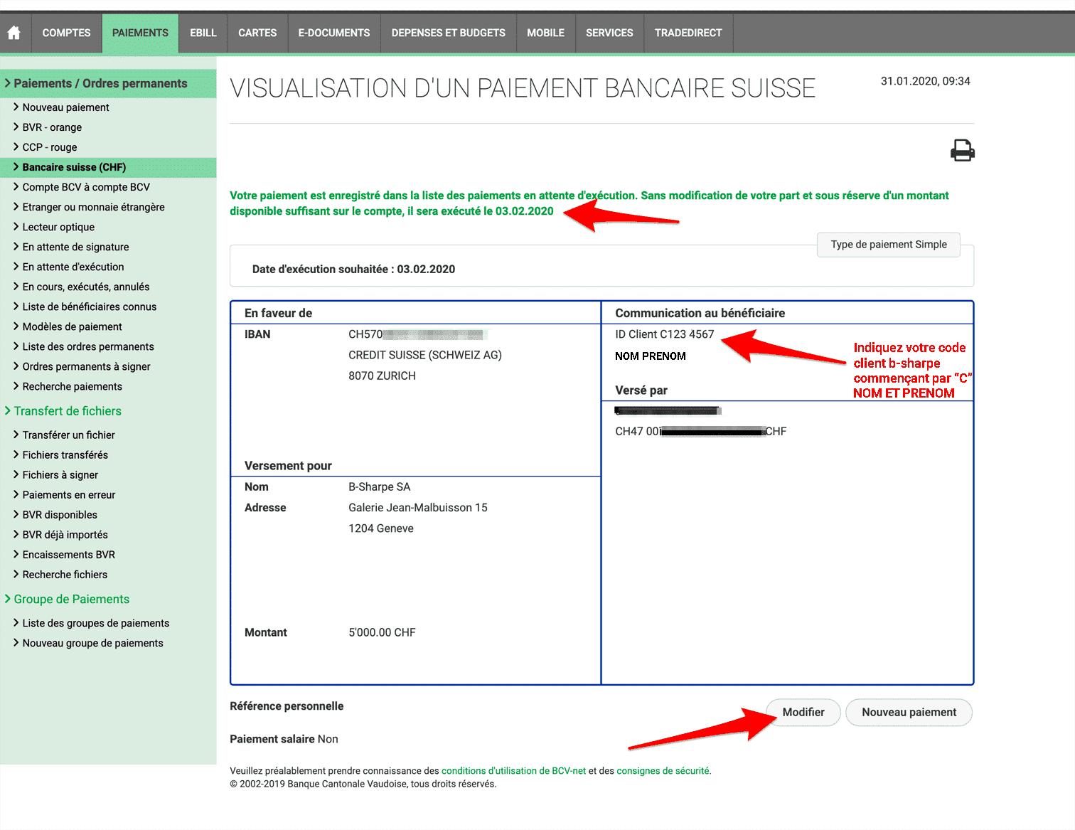 Comment effectuer un paiement bancaire simple avec BCV-net