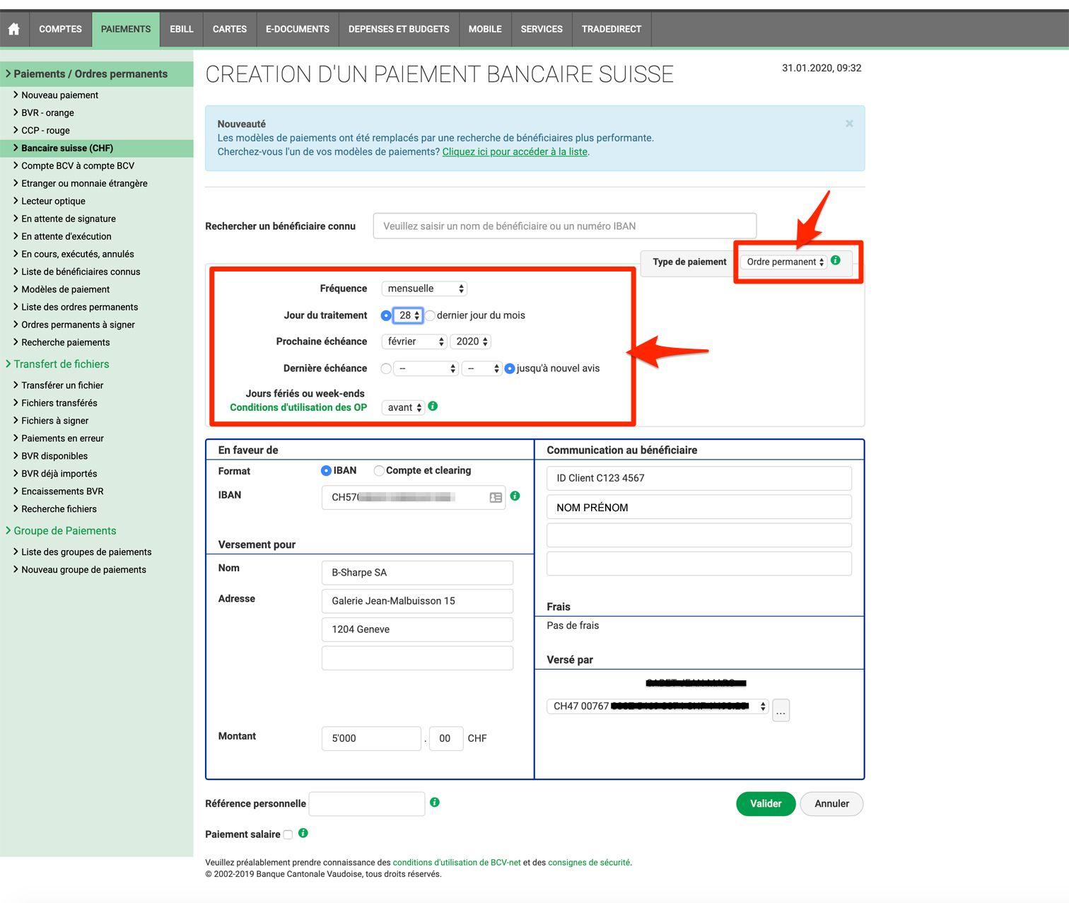 faire un ordre permanent sur BCV net