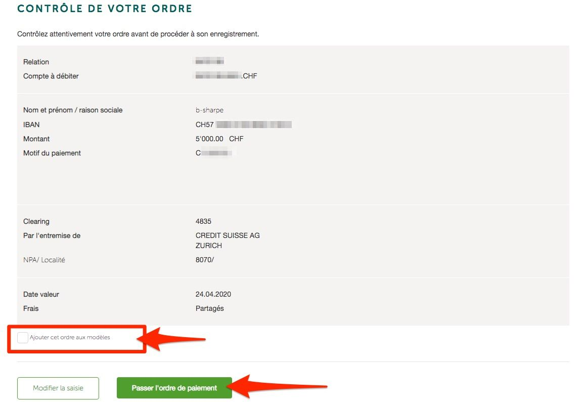 Validation d'un virement simple chez Crédit agricole next bank