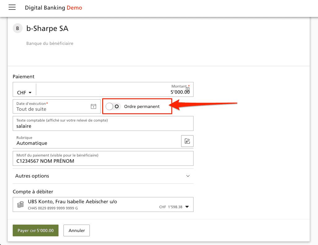 Créer un ordre permanent sur UBS