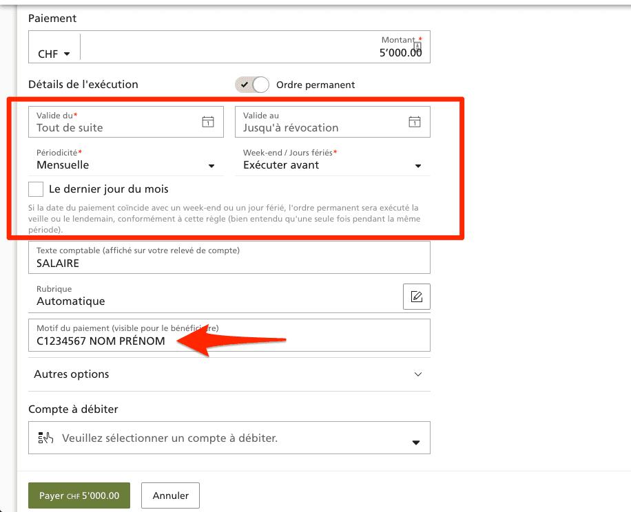 Ordre permanent d'un compte UBS vers un compte b-sharpe