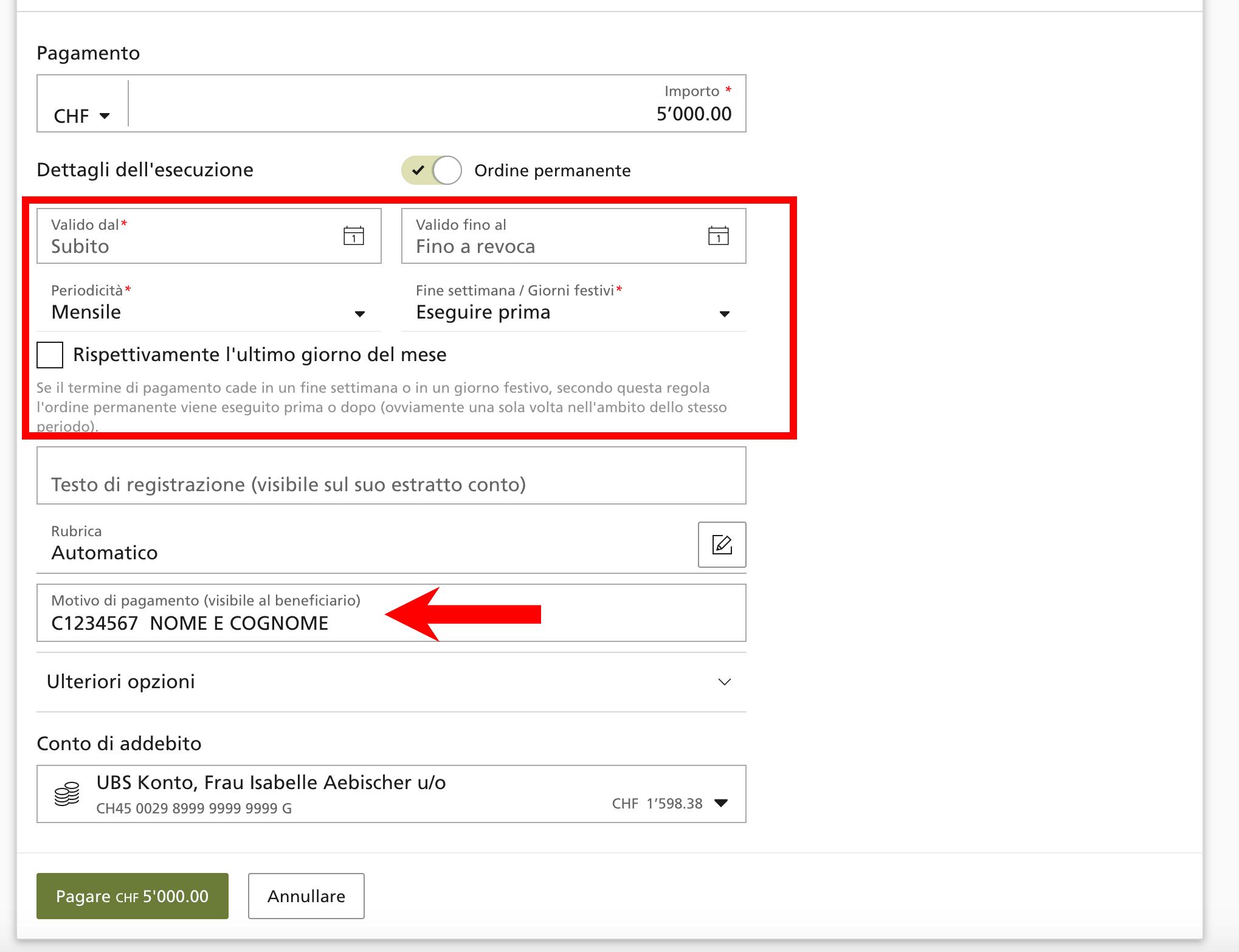 Bonifico conto UBS